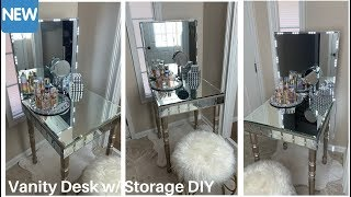 💕Mirrored Vanity Desk w/ Storage DIY || Glam Home Decor💕