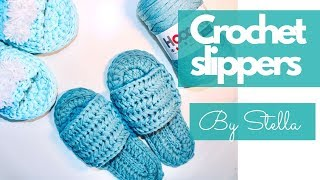 Crochet Simple Slippers - Bedroom Slippers for Adults(all size pattern ) T shirt yarn  - By Stella