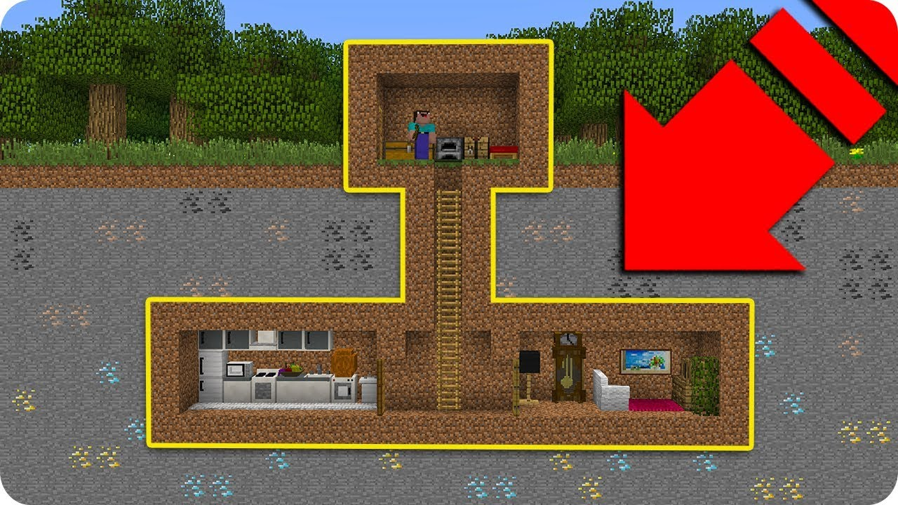 Noob vs casa secreta troll bajo tierra en minecraft - Casas bajo tierra ...