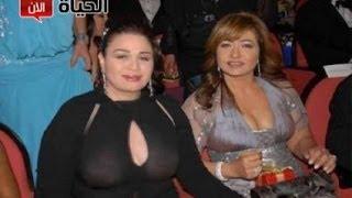 فضيحة الهام شاهين تظهر بملابس شفافة يظهر صدرها فى عزاء