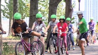 Adults learn to ride bicycles for the first time