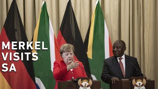 President Cyril Ramaphosa and German Chancellor Angela Merkel had a private conversation on 6 February 2020 ahead of the official talks between the two leaders at the Union Buildings in Tshwane.