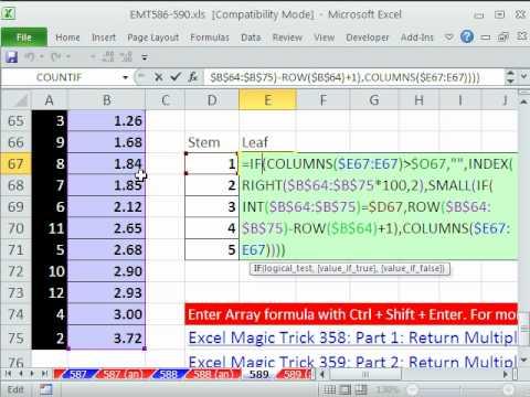 Excel magic trick 589 stem leaf chart for decimals array excel magic trick 589 stem leaf chart for decimals array formula statistics youtube ccuart Gallery