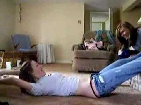 Girls Taking Off Jeans