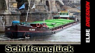 Albis-Frachtschiff Havarie u. Bergung an Dresdner Elbbrücke - SCHLUPP VIDEO