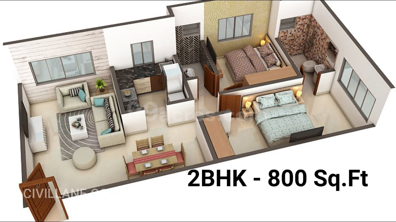 2bhk House Interior Design 800 Sq Ft By Civillane Com Youtube