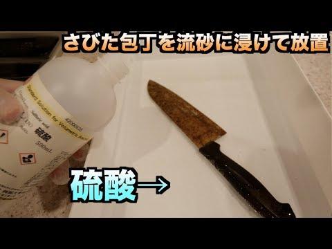 【実験】硫酸の中にさびた包丁入れて放置するとどうなるの?