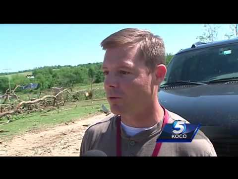 KOCO Meteorologist Shelby Hays tours storm damage with National Weather  Service