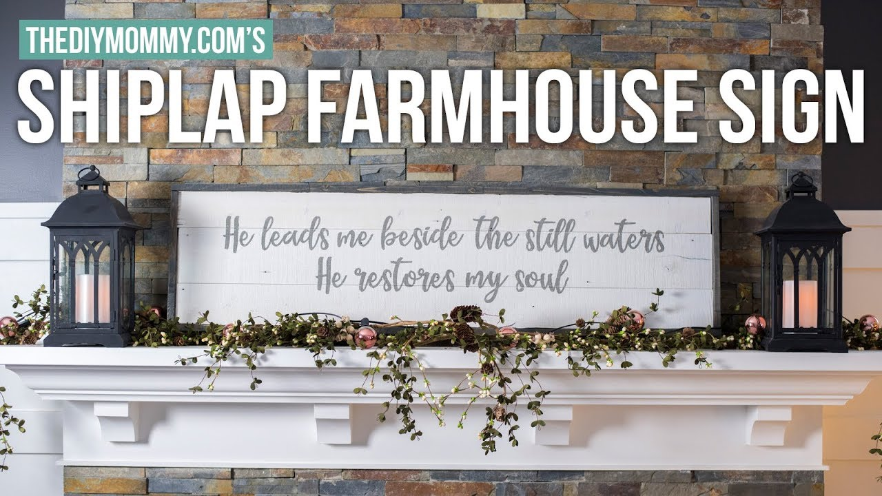 How To Make A Farmhouse Shiplap Wood Sign The Diy Mommy Youtube