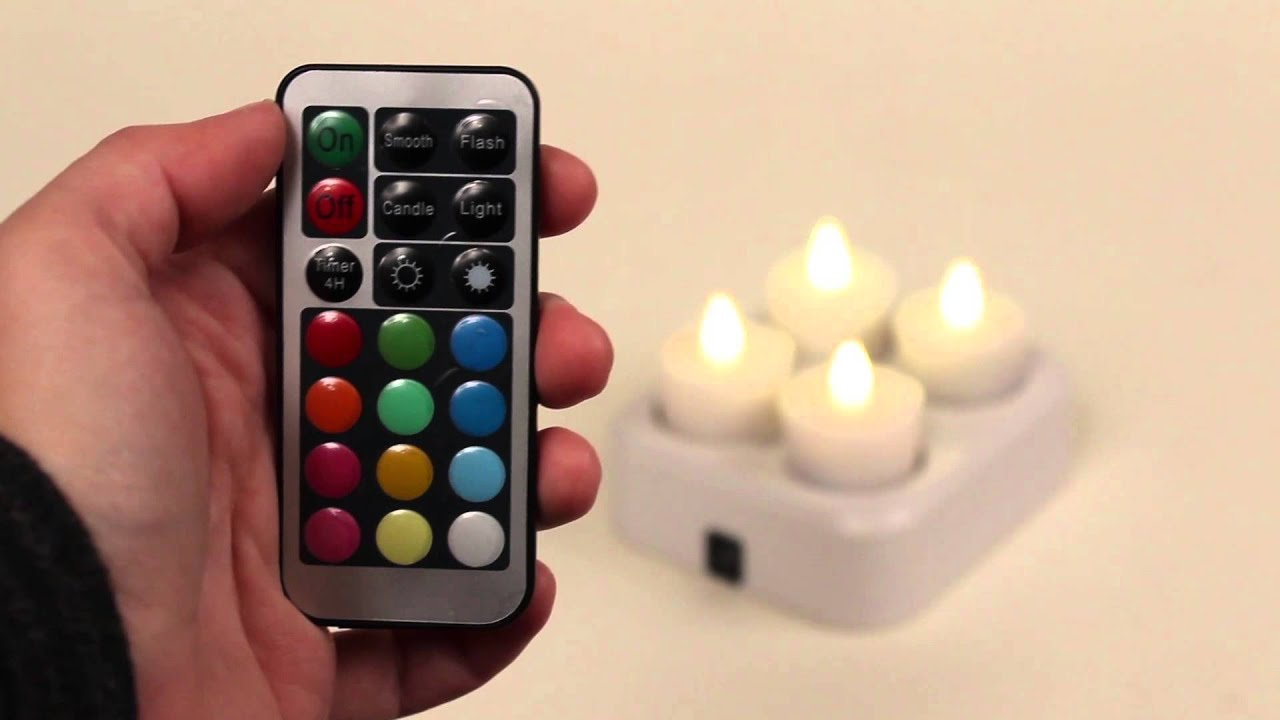 Set Of 4 Remote Control Color Changing Led Rechargeable