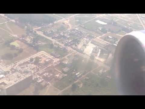 (HD) Landing at Chandigarh Airport, India with a view of the Mohali stadiums.