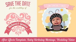 After Effects Template, Video Montage and Animation for Children, Birthday and Wedding