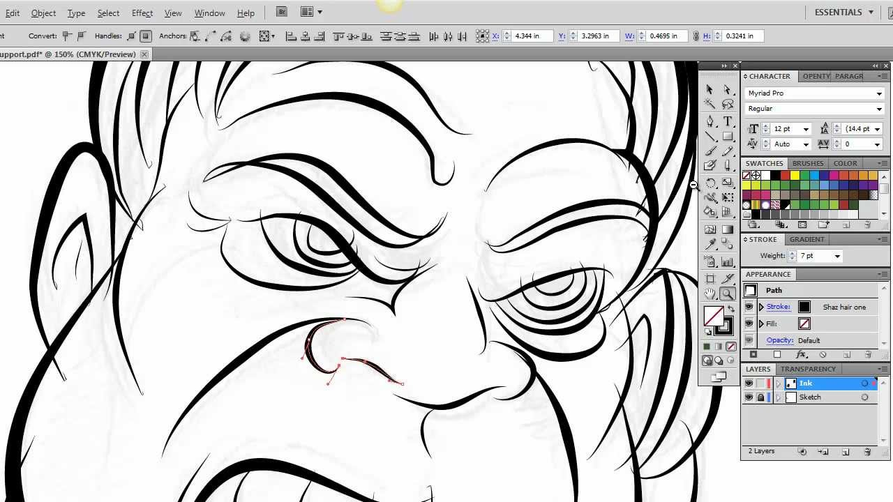Drawing Vector Lines In Photo Cs : Ultimate inking and coloring tutorial for adobe