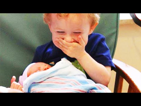 Legendary Moments When Kids Meet Newborn Babies - Funny Baby Siblings #2
