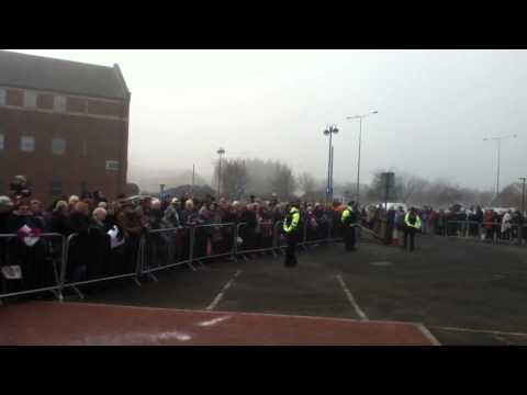 Duchess of Cambridge visit to Grimsby: Crowds outside the Fishing Heritage Centre 3