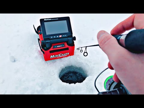 Ice Fishing AGGRESSIVE Perch Using UNDERWATER CAMERA!