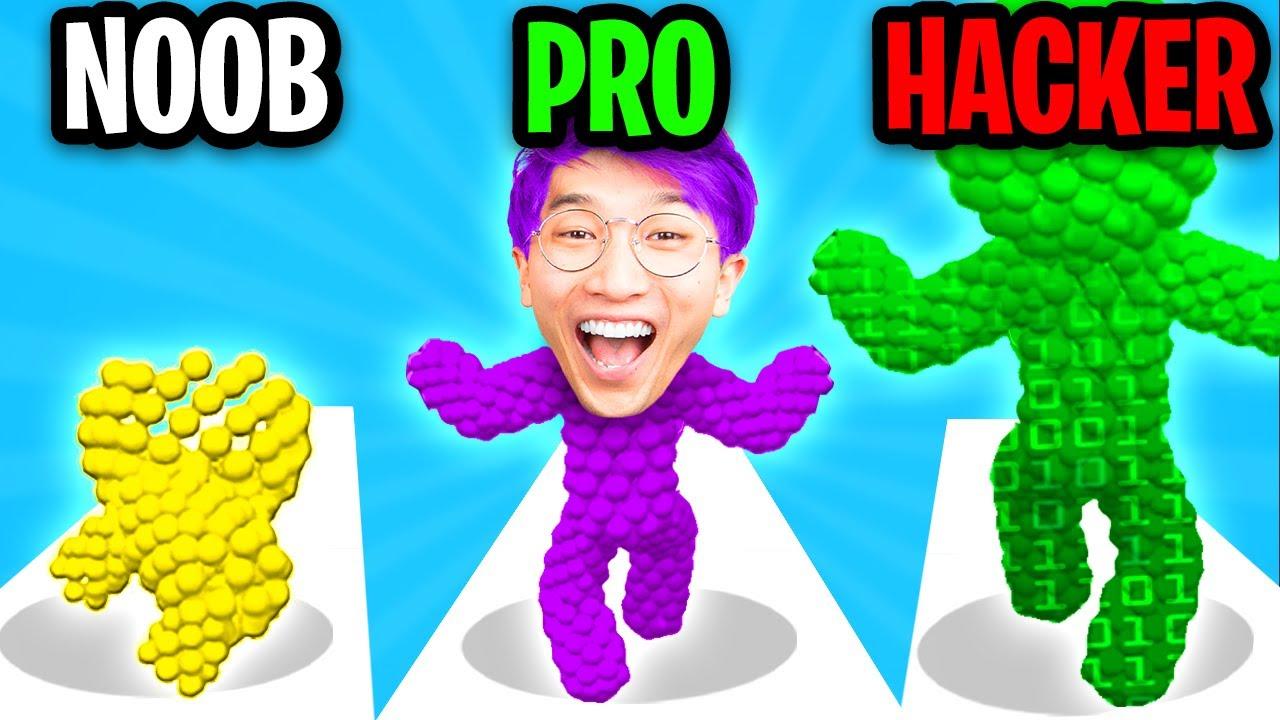 Can We Go NOOB vs PRO vs HACKER In SANDMAN RUN!? (SATISFYING APP GAME!)