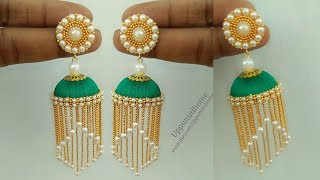 How To Make Silk Thread Pearl Earrings At Home | Jhumkas Diy | Jewelry Making | uppunutihome
