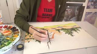 Time-lapse painting of summer trees, rocks, river and sky