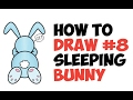 How to Draw Cartoon Rabbit Sleeping Easy Step by Step Drawing Tutorial for Kids and Preschoolers