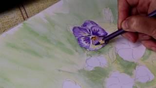 Акварель, смешение техники, фиалки акварельными карандашами. .(Как нарисовать Анютины глазки акварельными карандашами., 2016-10-31T06:29:56.000Z)