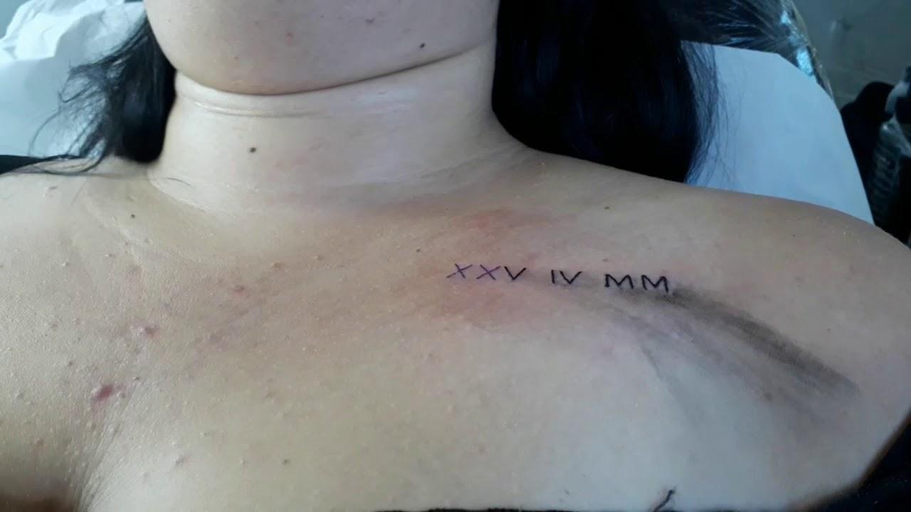 Data Em Numeros Romanos tatuagem de data de nascimento
