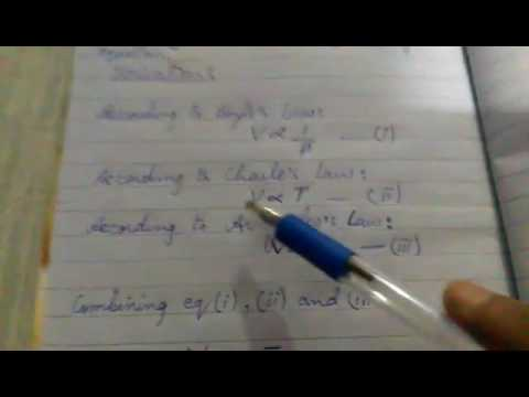Derivation of General Gas Equation (PV=nRT) in Hindi and Urdu