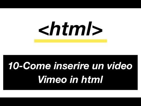 10 - Come inserire un video di vimeo in html - Come diventare web designer - Corso HTML