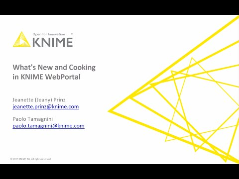 What's New And Cooking In KNIME WebPortal - KNIME Fall Summit 2019
