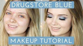 acne coverage drugstore blue smokey eye makeup tutorial mypaleskin