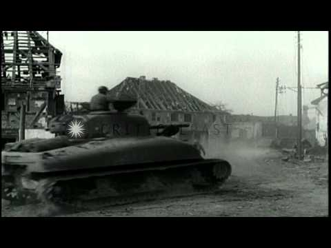 US 7th Army soldiers take prisoners and move into a bombed town of Surbourg in Al...HD Stock Footage