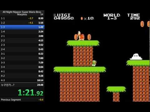 *World Record* All Night Nippon Super Mario Bros. Warpless speedrun(Luigi, 22:52.40 w/o loads)