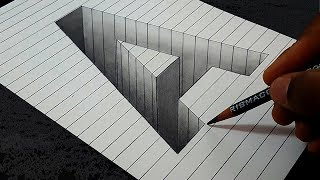 Drawing A Hole in Line Paper   3D Trick Art #Mr.Ravy