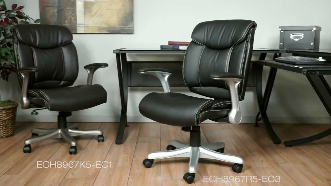 Office Star Eco Leather Chairs With Flip Arms Youtube