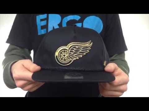 9a5a4da7 Red Wings 'MINE-SHAFT STRAPBACK' Black Hat by Twins 47 Brand - YouTube