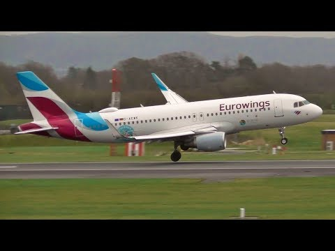 6 ABORTED LANDINGS, WINDSHEAR GO AROUND, DIRECT CROSSWIND at Manchester Airport 27/1/19