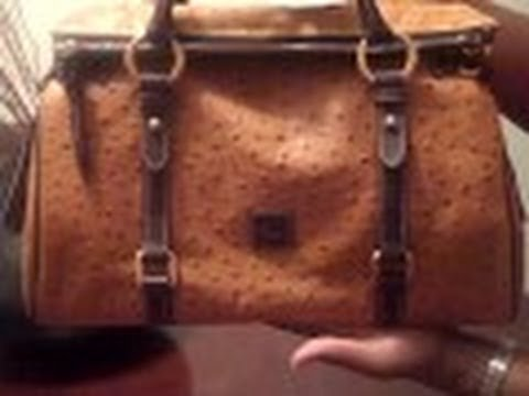 Dooney   Bourke Ostrich satchel and Ostrich Large zip around wallet (Tan) -  YouTube 7f2ba58563