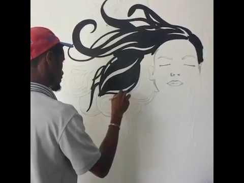 Como pintar una cara de una mujer para un centro de - Dibujos para paredes infantiles ...