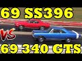 Camaro SS396 / 375 (L78) vs 340 Dodge Dart GTS- 1/4 Mile Drag Race Video - Road Test TV