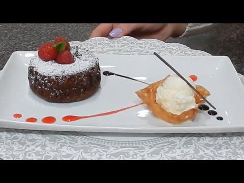 Molten Chocolate Lava Cake | Dessert Plating - YouTube
