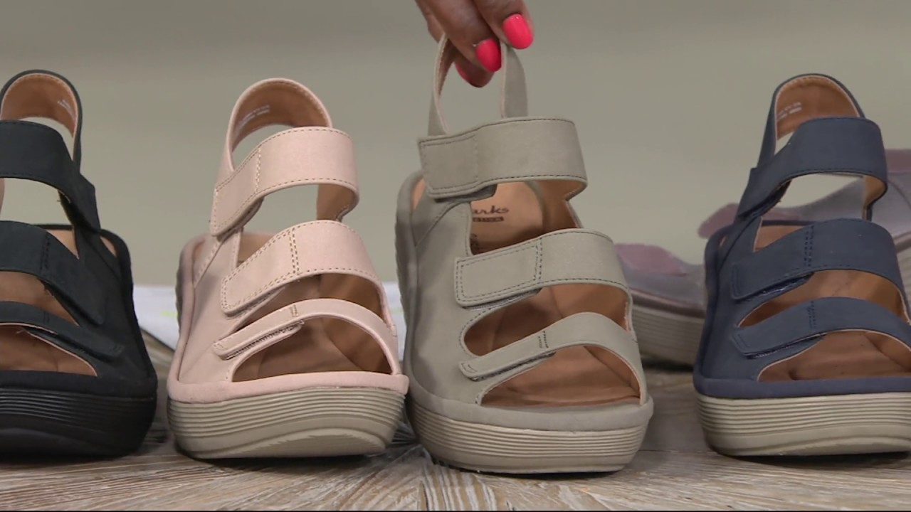 5e49f634 Clarks Nubuck Triple Strap Wedge Sandals - Reedly Juno on QVC - YouTube