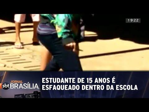 Estudante de 15 anos é esfaqueado dentro de escola | Jornal SBT Brasília 29/08/2018