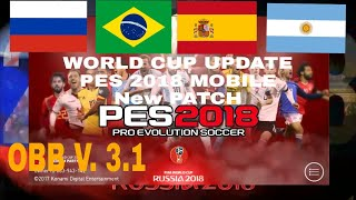 FIFA WORLD CUP 2018 Edition PES 2018 MOBILE Patch- Now Available To Download