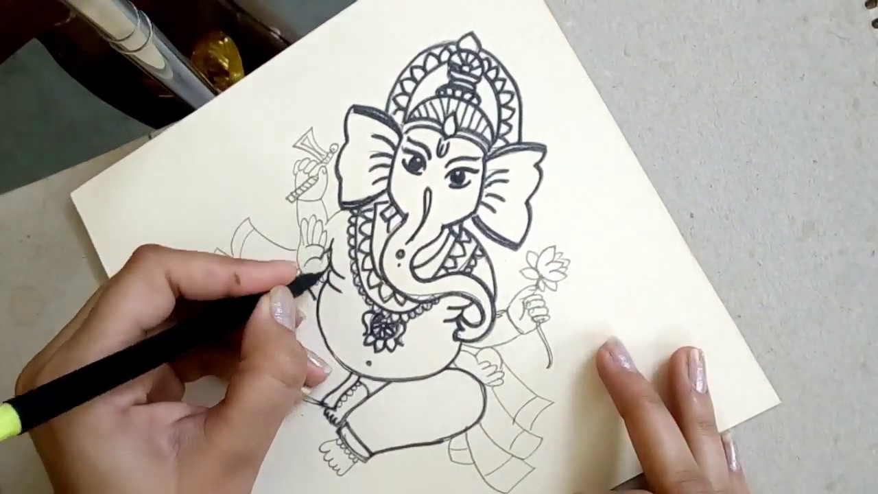 How to draw the sitting hindu god ganesha step by step