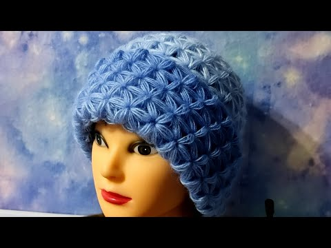Вязаные шапки крючком для женщин схемы теплые звездочка