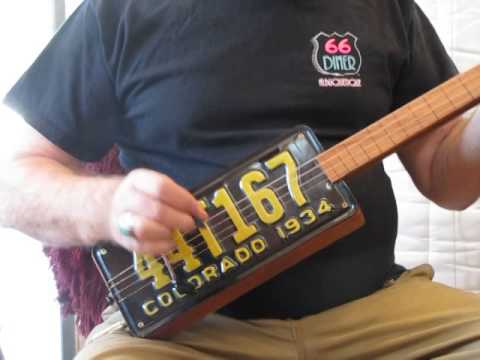 Barkingwood Cigar Box Guitars-1934 License Plate Guitar