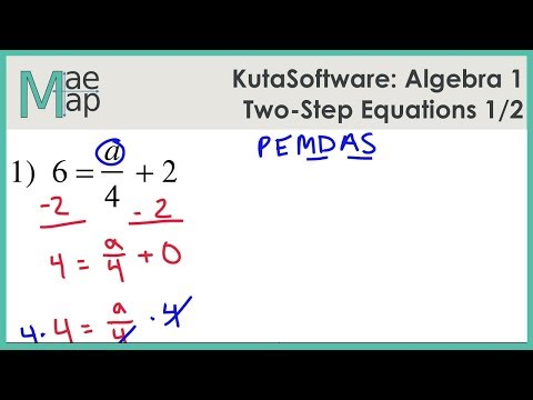 KutaSoftware Algebra 1 Two Step Equations Part 1 YouTube