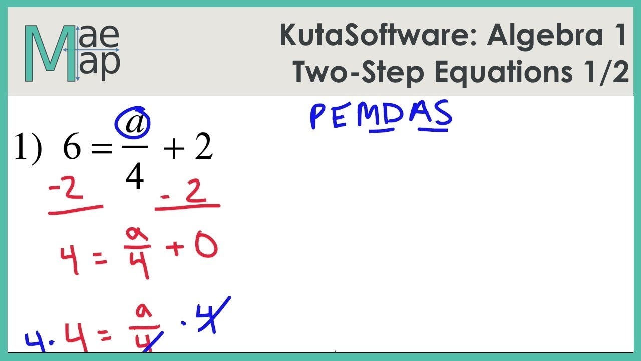 KutaSoftware: Algebra 1 - Two-Step Equations Part 1