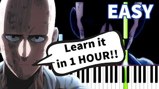 One Punch Man - Sad Theme - EASY Piano tutorial (Synthesia)