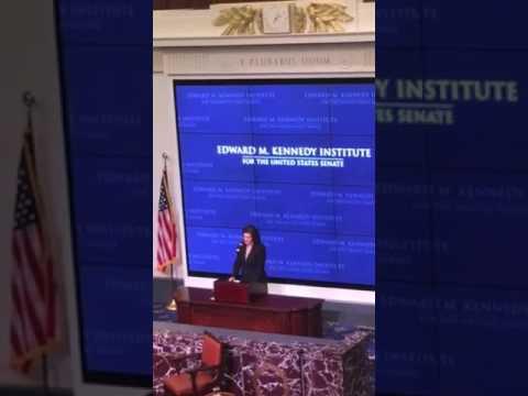 Vicki Kennedy introducing Senator Sanders at The EMK institute